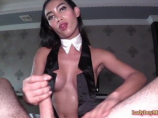 Big-titted Thai shemale babe Deedee oiled up guy's hard dick