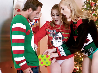 Hot stepsisters fuck stepbrother for Christmas