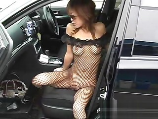 Aya in her comedy fishnet outfit once many times