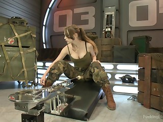Army girl Alaina Rascal strips and penetrates herself with a fuck machine