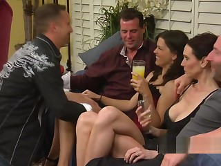 Dampness swinger threesome down yoke horny and pocket-sized brunettes