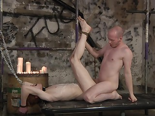 Gay lovers augment the rough anal mating with the share nudity