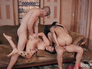 Naked sluts swap their lovers in a exploitatory foursome