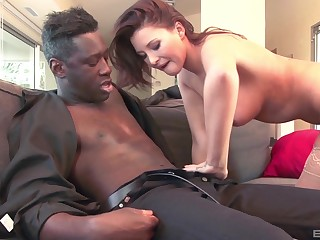 Well-endowed redhead Anissa Kate opens her legs for a large black dig up